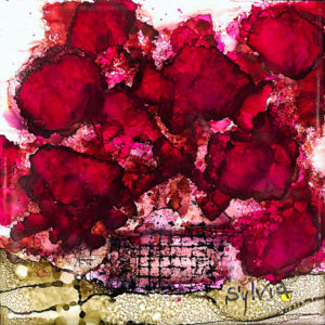 Knock Me Out by Sylvia Benson, 6x6 Alcohol Ink at Kelley Gallery Art & Frame in Woodbury, MN