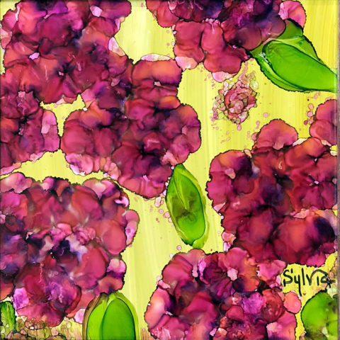 Maroon 7 by Sylvia Benson, 6x6, Alcohol Ink at Kelley Gallery Art & Frame in Woodbury, MN