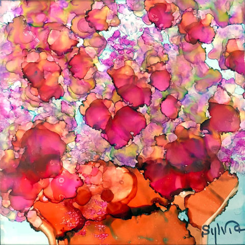 Remembering by Sylvia Benson, 6x6, Alcohol Ink at Kelley Gallery Art & Frame in Woodbury, MN
