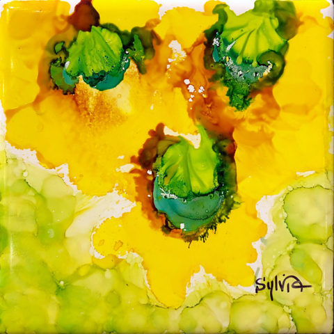 The Sunny Three by Sylvia Benson, 6x6, Alcohol Ink at Kelley Gallery Art & Frame in Woodbury, MN