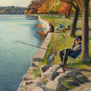 Fall Fishing by Scott Lloyd Anderson, 18x24 Oil Framed