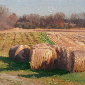 Haybales in the Sun by Scott Lloyd Anderson, 10x8 Oil Framed