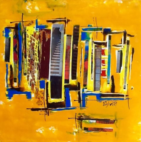 Gold City Skyline by Sylvia Benson , 10 x 10 Encaustic