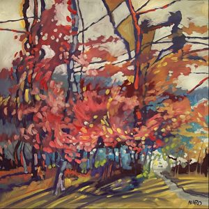 Redbuds by Judy Munro, 36x36 Oil at Kelley Gallery Art & Frame in Woodbury, MN