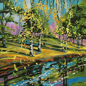 River Birches by Judy Munro, 36x36, Oil on Board