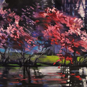 River Redbuds by Judy Munro, 40x30 Oil