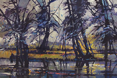 River Trees by Judy Munro, 60x40, Oil on Board