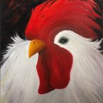 Laurie Swanson rooster painting at Kelley Gallery Art & Frame in Woodbury, MN