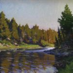 Scott Lloyd Anderson (Live Paint Artist) river painting at Kelley Gallery Art & Frame in Woodbury, MN