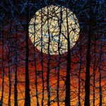Daniel Lager moon painting at Kelley Gallery Art & Frame in Woodbury, MN