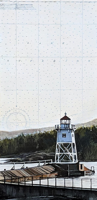 Lake Superior Lighthouse by Christina Keith, 10x20 Mixed Media