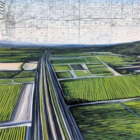 Hudson Farmland by Christina Keith, 20x20 Mixed Media