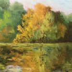 Autumn at Lone Lake by Judith Anderson, 10x8 Oil, Framed