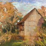 Barn at Dodge by Judith Anderson, 7x5 Oil, Framed