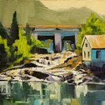 Eagle River Dam by Colleen Cosgrove, 7x5 Oil, Framed