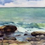 Lake Michigan Shoreline by CeCeile Hartleib, 11x7 Watercolor, Framed
