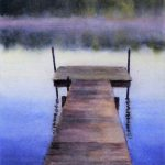 The Dock by CeCeile Hartleib, 7x10 Watercolor, Framed