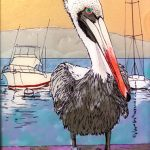 Harbor Guard by Susan Klem, 10x8 Glass Drawing with Pebeo, Framed