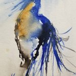 Blue Strut by Terry Meyer, 6x12 Watercolor, Framed
