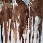 Three Long Horses by Terry Meyer, 6x16 Oil