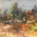 SOLD- First Frost by Julie Schroeder, 15x4 Watercolor, Framed
