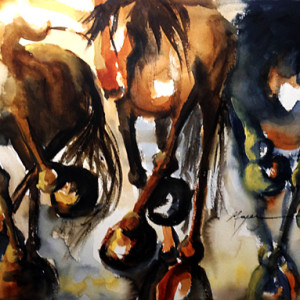 Terry Meyer- Three Running Horses, Watercolor