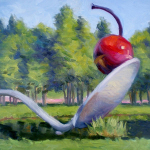 Cherry on the Spoon by CeCeile Hartleib, 12x9 Oil