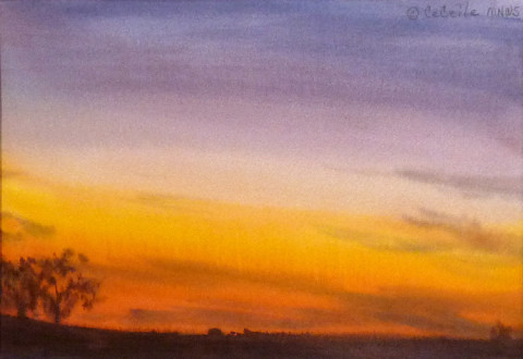 Sunset #15 by CeCeile Hartleib, 9x7 Watercolor
