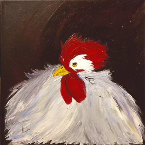 Fluffed Out by Laurie Swanson, 12x12 Oil at Kelley Gallery Art & Frame in Woodbury, MN