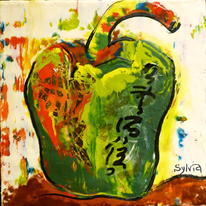 Green Pepper by Sylvia Benson, 8x8 Encaustic