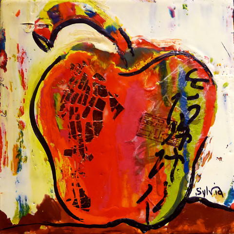 Red Apple by Sylvia Benson, 8x8 Encaustic