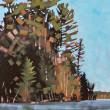 Eagles Nest Island Reflections by Reid Thorpe, 12x36 Oil