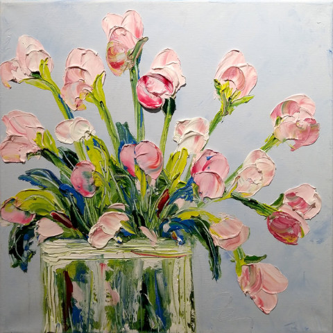 Pink Flowers by CeCe Thorpe, 12x12 Oil