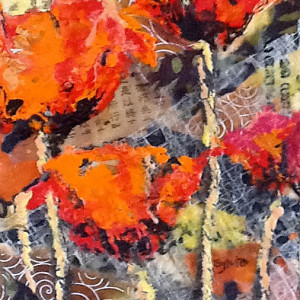 Red Poppies by Sylvia Benson, 8x12 Encaustic