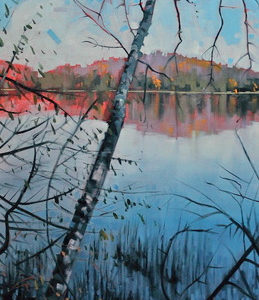 Otter Lake Birch View Reflections by Reid Thorpe, 20x48-Oil