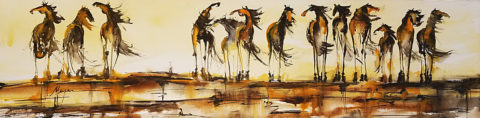 13 Horses by Terry Meyer, 72x18-Watercolor
