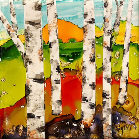Birch Scene by Sylvia Benson, 6x6 Alcohol Ink at Kelley Gallery Art & Frame in Woodbury, MN