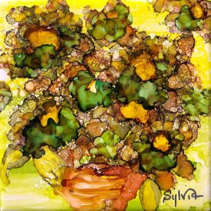 Spring Delight by Sylvia Benson, 6x6, Alcohol Ink at Kelley Gallery Art & Frame in Woodbury, MN