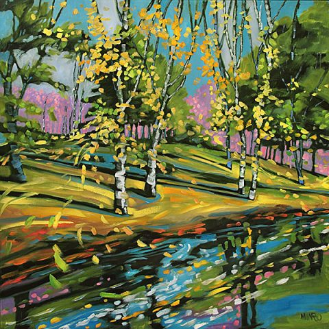 River Birches by Judy Munro, 36x36, Oil on Board at Kelley Gallery Art & Frame in Woodbury, MN
